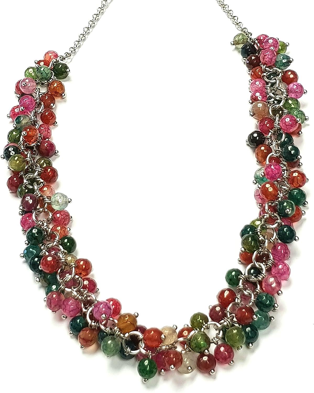Treasurebay FAB - Collar con colgante de piedras preciosas multicolor, para mujer
