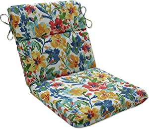Pillow Perfect Outdoor | Indoor Oakmont Multi Rounded Corners Chair Cushion, 40.5 X 21 X 3, Blue