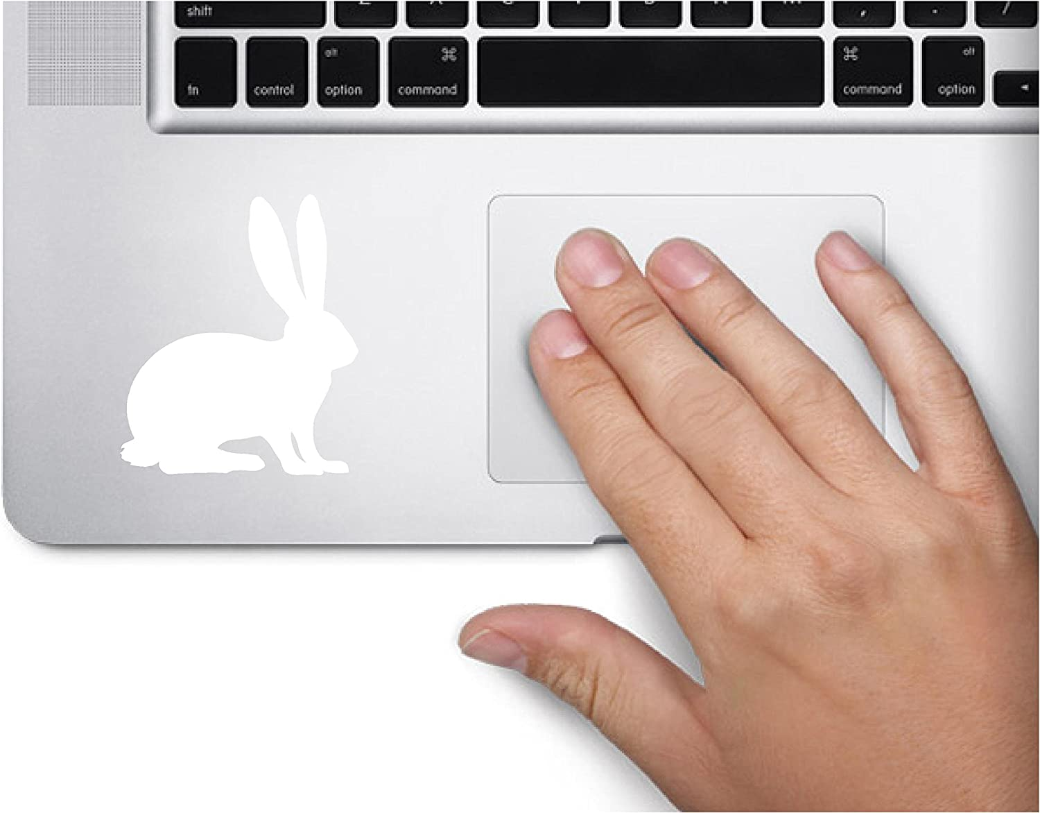 ExpressDecor Rabbit Silhouette Bunny Animal Nature Computer Laptop Symbol Decal Family Love Car Truck Sticker Window (White)