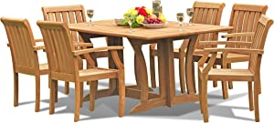 """7-pc Outdoor Teak Dining Furniture Set: 69"""" Console/Folding Table & 6 Somer Arm Chairs"""