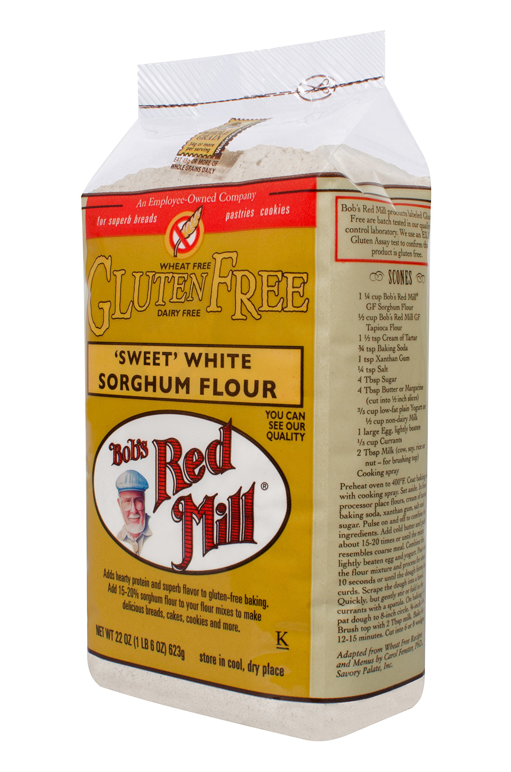 Bob's Red Mill - Gluten Free Sweet White Sorghum Flour, 22 Ounces (Pack of 4) by Bob's Red Mill (Image #3)