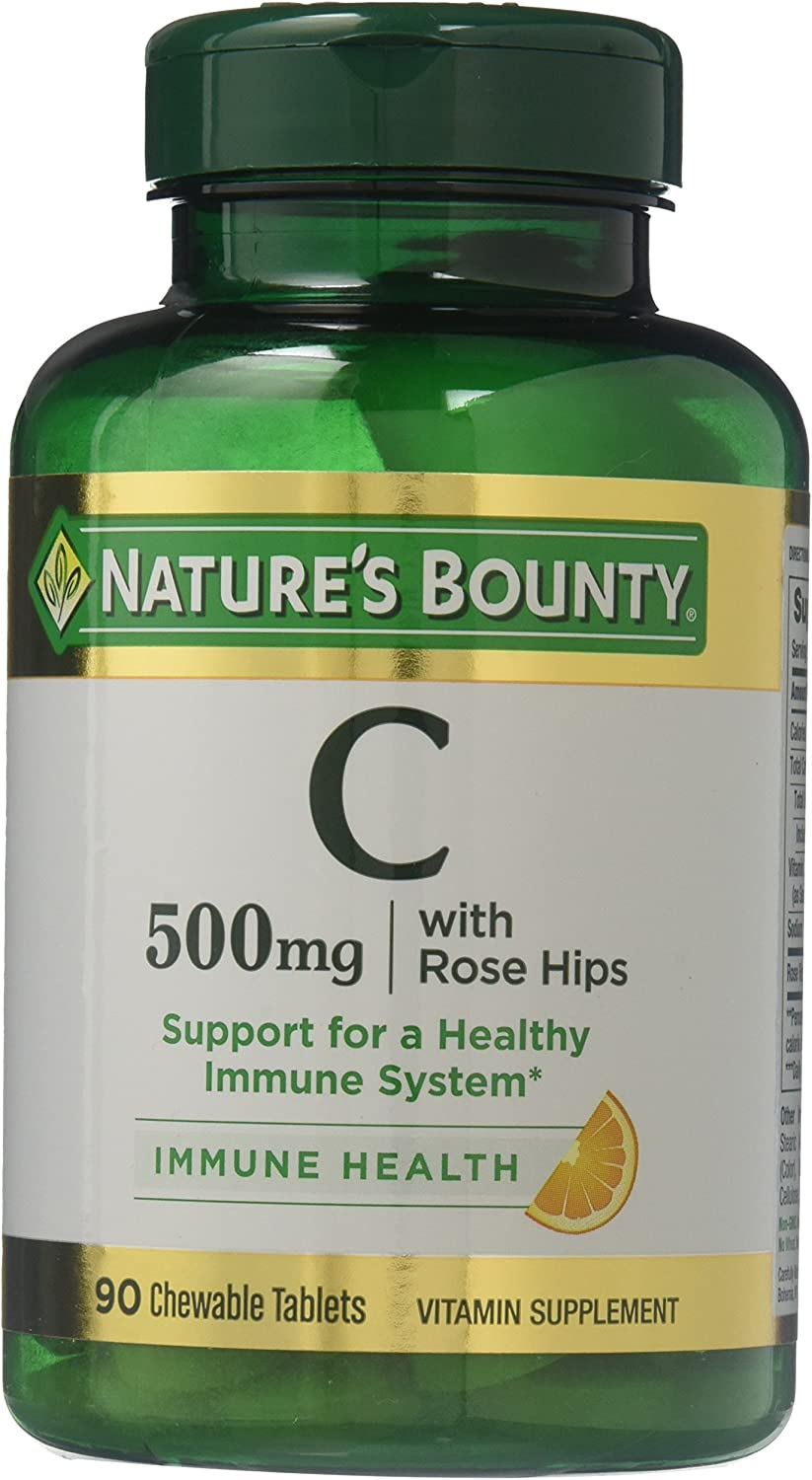 Nature's Bounty Vitamin C with Rose Hips USP, 500mg, 180 Chewable Tablets (2 X 90 Count Bottles)