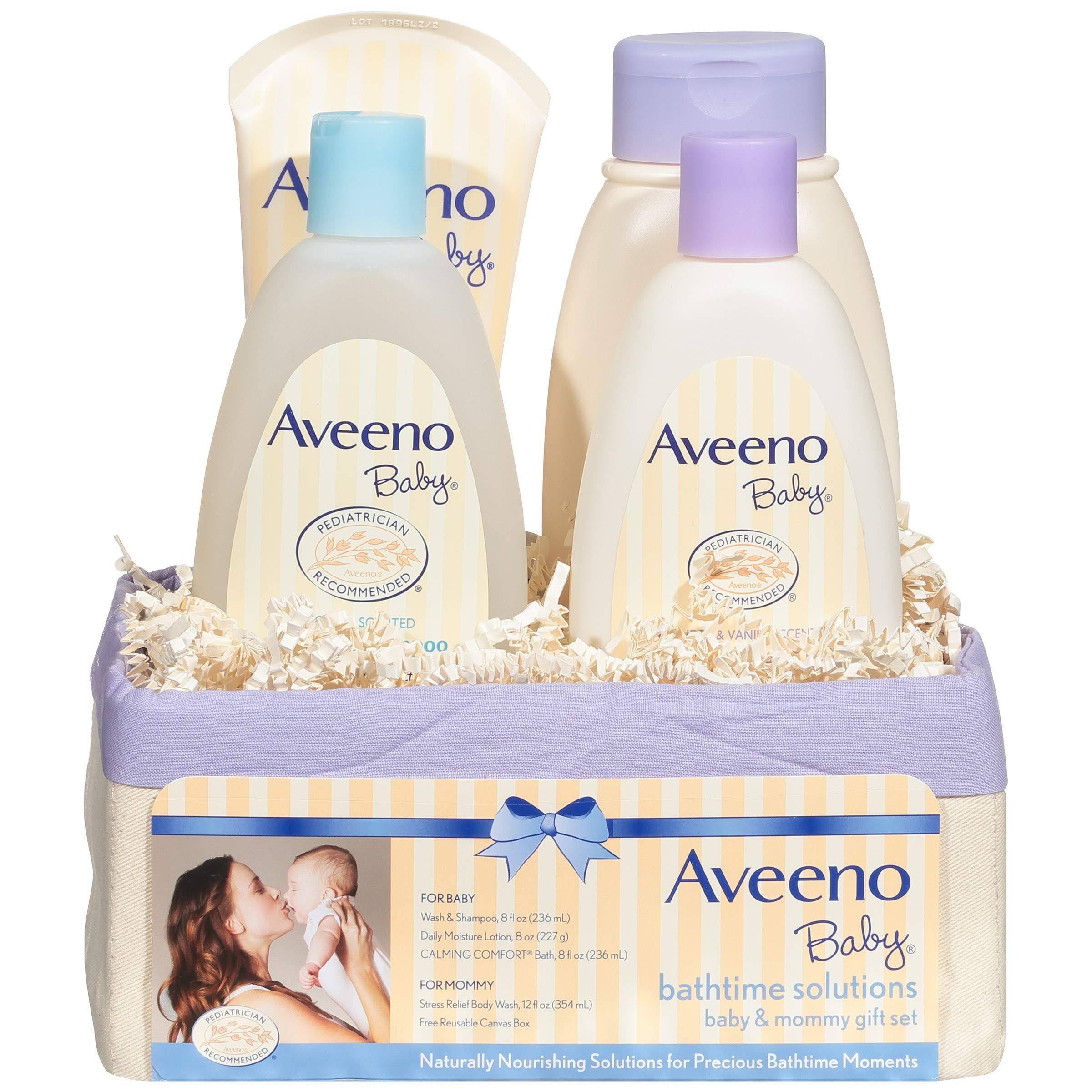 Aveeno Baby Daily Bathtime Solutions Gift Set to Nourish Skin for Baby and Mom, 4 items by Aveeno Baby