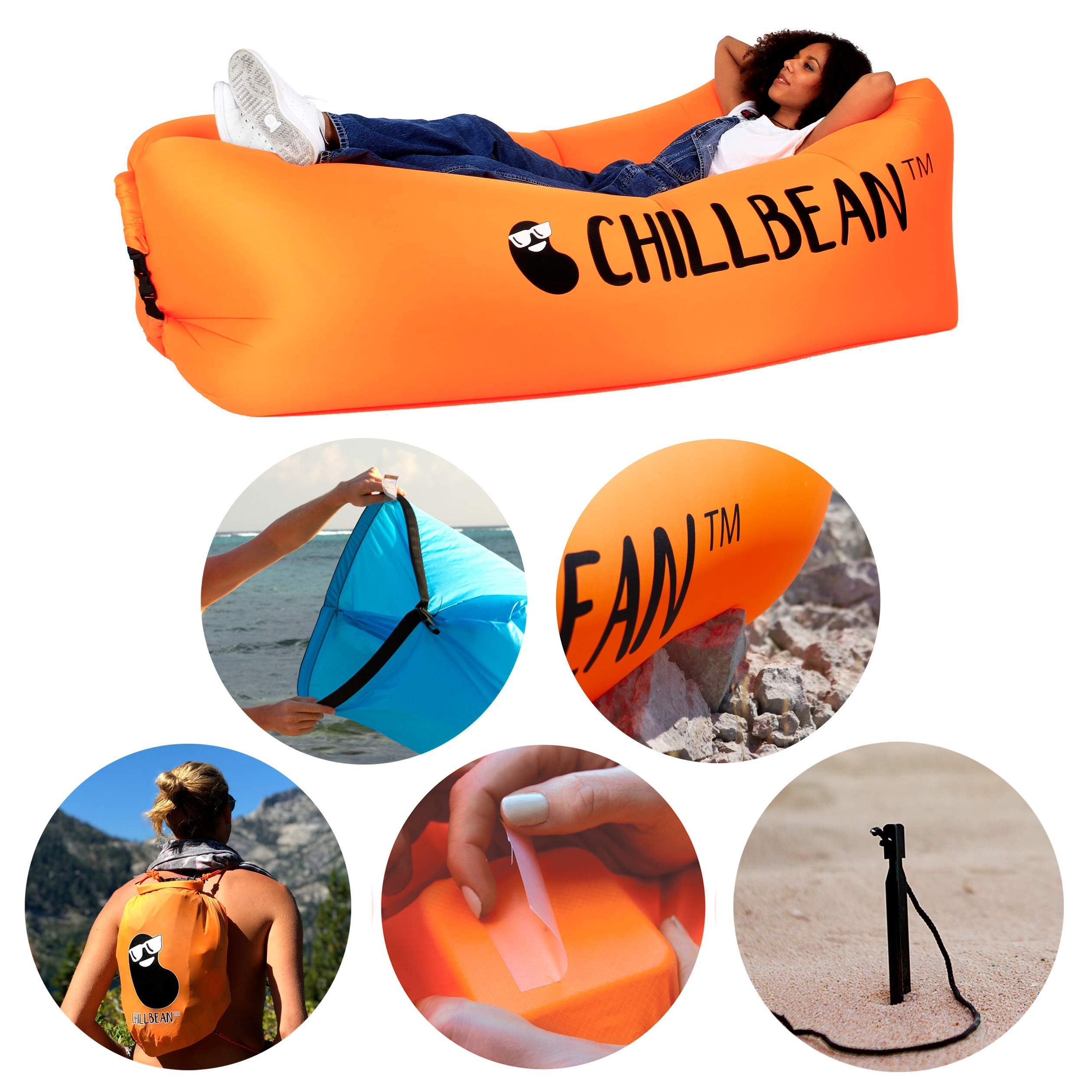 CHILLBEAN Inflatable Couch. Single Layer Single Opening 2.3 lbs Lightweight Portable Chaise Lounger. Comes with 2 Year Free Patches Warranty, Water Resistant Backpack, and Aluminium Wind Stake. by CHILLBEAN