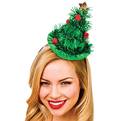 Adult Green Tinsel Christmas Tree Hat On Headband