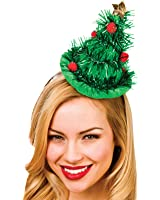 Adults Green Tinsel Christmas Tree Hat On Headband Xmas Fancy Dress Accessoy New