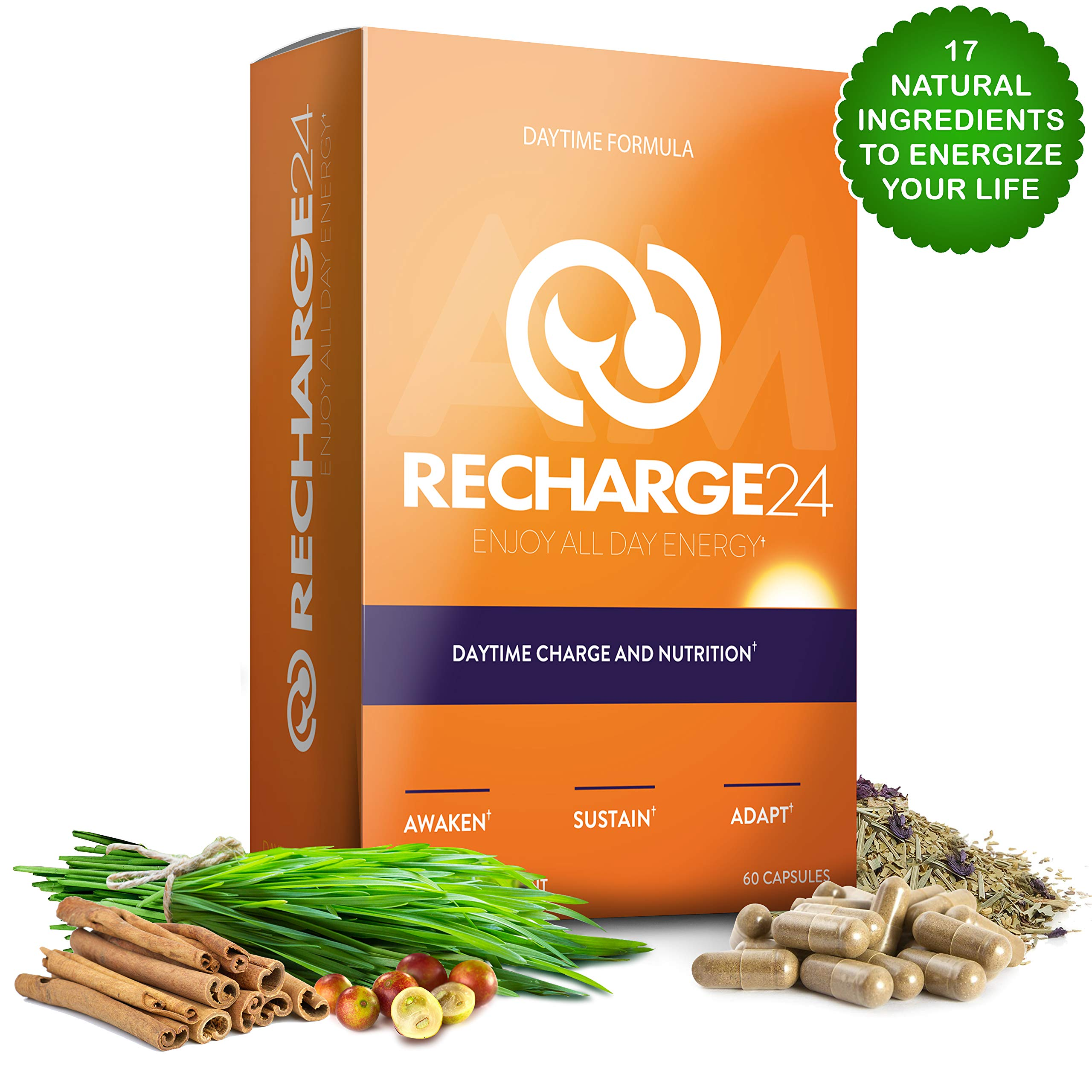 RECHARGE24 AM Energy Pills, Non-Crash Sustained Performance, Pre Workout & Focus Supplement, 1125 mg 100% Natural Herbal Blend with 200 mg Natural Caffeine per Serving, 60 Vegan Capsules by RECHARGE24