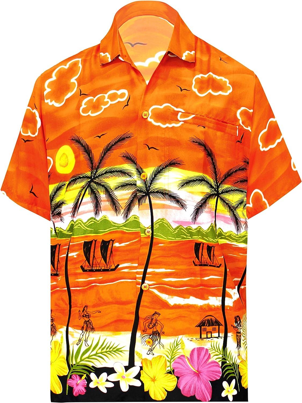 LA LEELA Hawaiano Aloha Camisa de la Playa de los Hombres