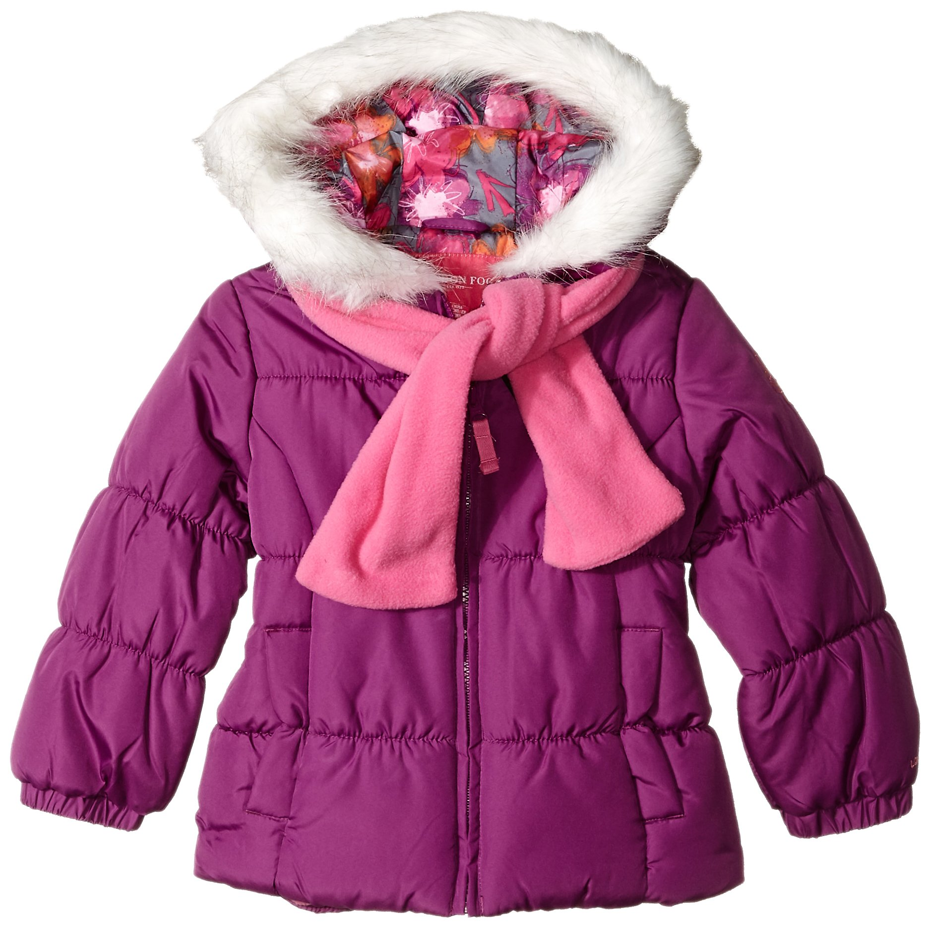 London Fog Little Girls' Winter Coat with Scarf and Hat, Berry Treat, 6X