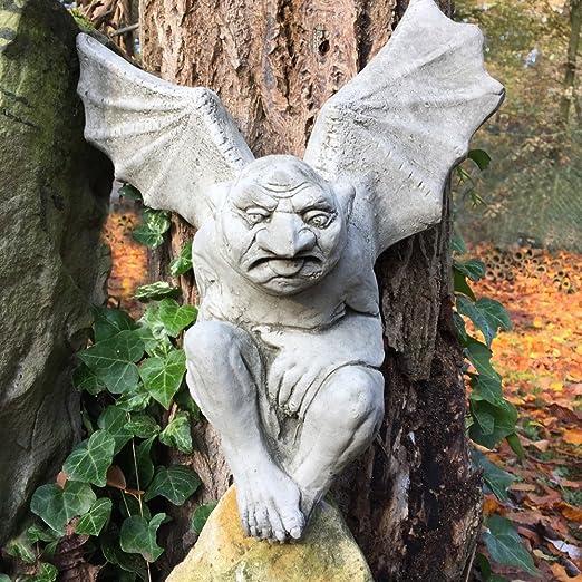 Antikas - decoración jardín monstruo de piedra - figuras catedrales - figuras gárgola demonios - Batman Gargoyle - estatuas escultura de piedra: Amazon.es: Jardín