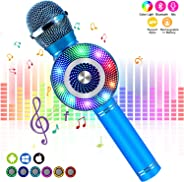 FishOaky Karaoke Microphone[Updated], Kids Wireless Bluetooth Karaoke Machine Portable Mic Player Speaker with LED for Chris