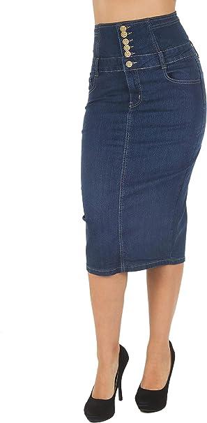 new style great fit exclusive deals Women's Juniors High Waist Long/Knee Length Midi Pencil Denim Skirt