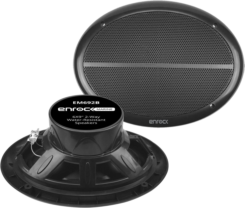 """Enrock Marine EM692B Black Dual 6X9"""" Inch Weather Resistant Full Range Speakers 250 Watts Peak (Pair)"""