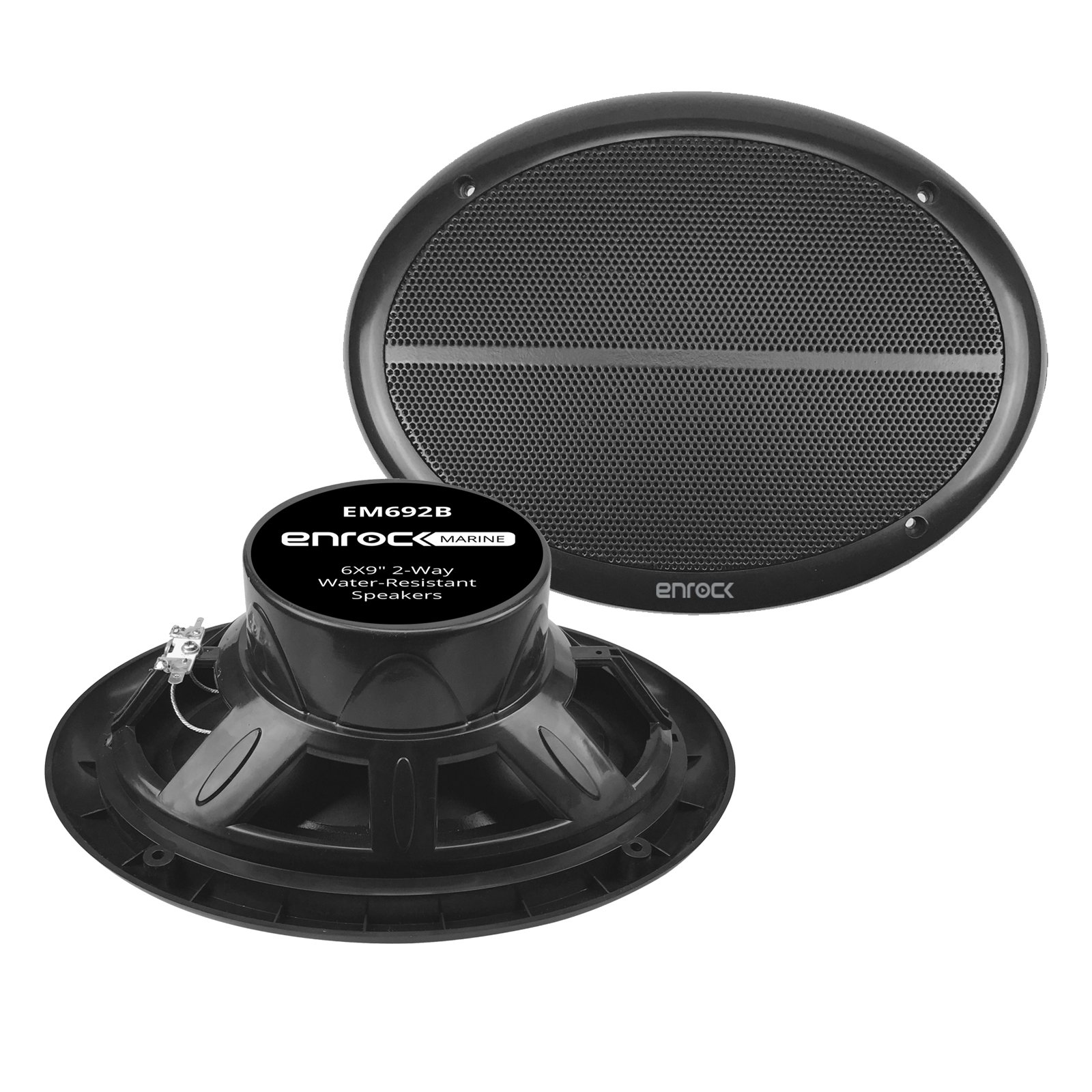 Enrock Marine EM692B Black Dual 6X9 Inch Weather Resistant Full Range Speakers 250 Watts Peak (Pair)