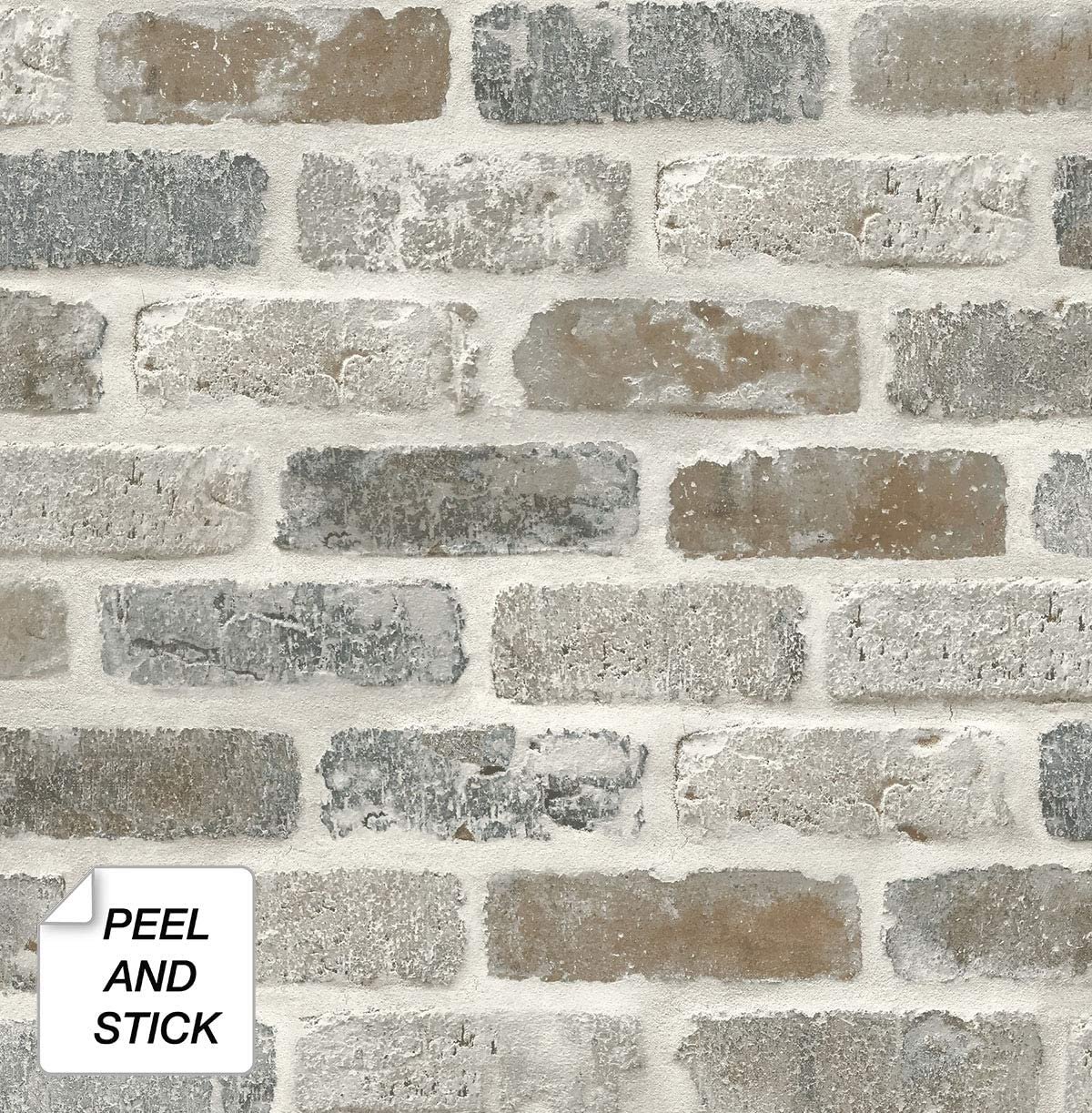 - NextWall Washed Faux Brick Peel And Stick Wallpaper. - - Amazon.com