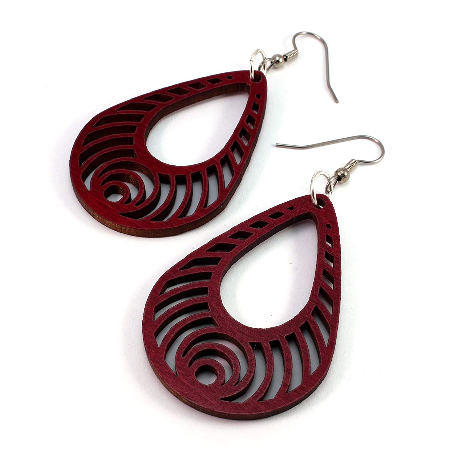 2 Small - Hook Dangle Drop Wooden Earrings Bass Ripple Teardrop Earrings made of Sustainable Red-Stained Maple Wood