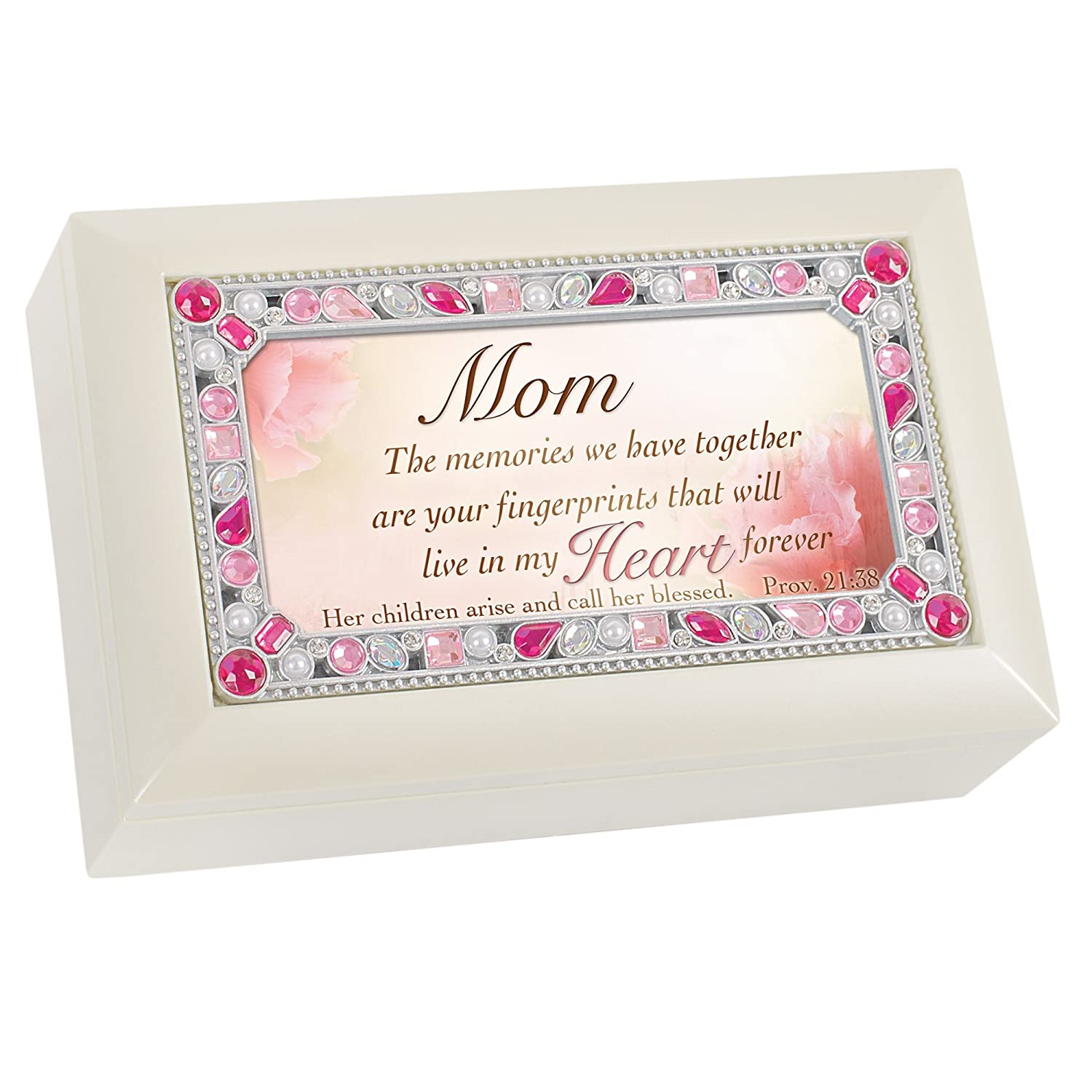 Mom The Memories Jeweled Ivory Jewelry Music Box Plays Tune Amazing Grace Amazon In Home Kitchen