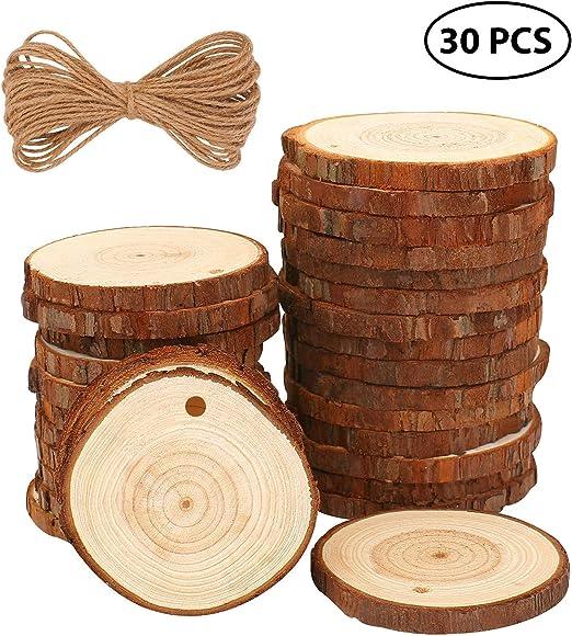 50st 6-7cm ilauke 50 St/ücke Holzscheiben Holz Log Scheiben 6-7cm und Nnat/ürliche Jute Seil f/ür DIY Handwerk Holz-Scheiben Hochzeit Mittelst/ücke Weihnachten Dekoration Baumscheibe