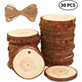 "Fuyit Natural Wood Slices 30 Pcs 2.4""-2.8"" Drilled Hole Unfinished Log Wooden Circles for DIY Crafts Wedding Decorations Christmas Ornaments with Free Gifts"