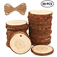 """Fuyit Natural Wood Slices 30 Pcs 2.4""""-2.8"""" Craft Wood kit Unfinished Predrilled with Hole Wooden Circles Great for Arts and Crafts Christmas Ornaments DIY Crafts"""
