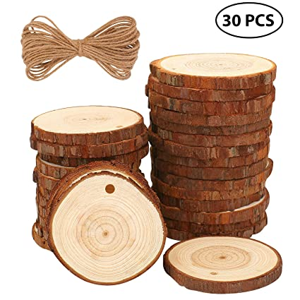 amazon com fuyit natural wood slices 30 pcs 2 4 2 8 craft wood