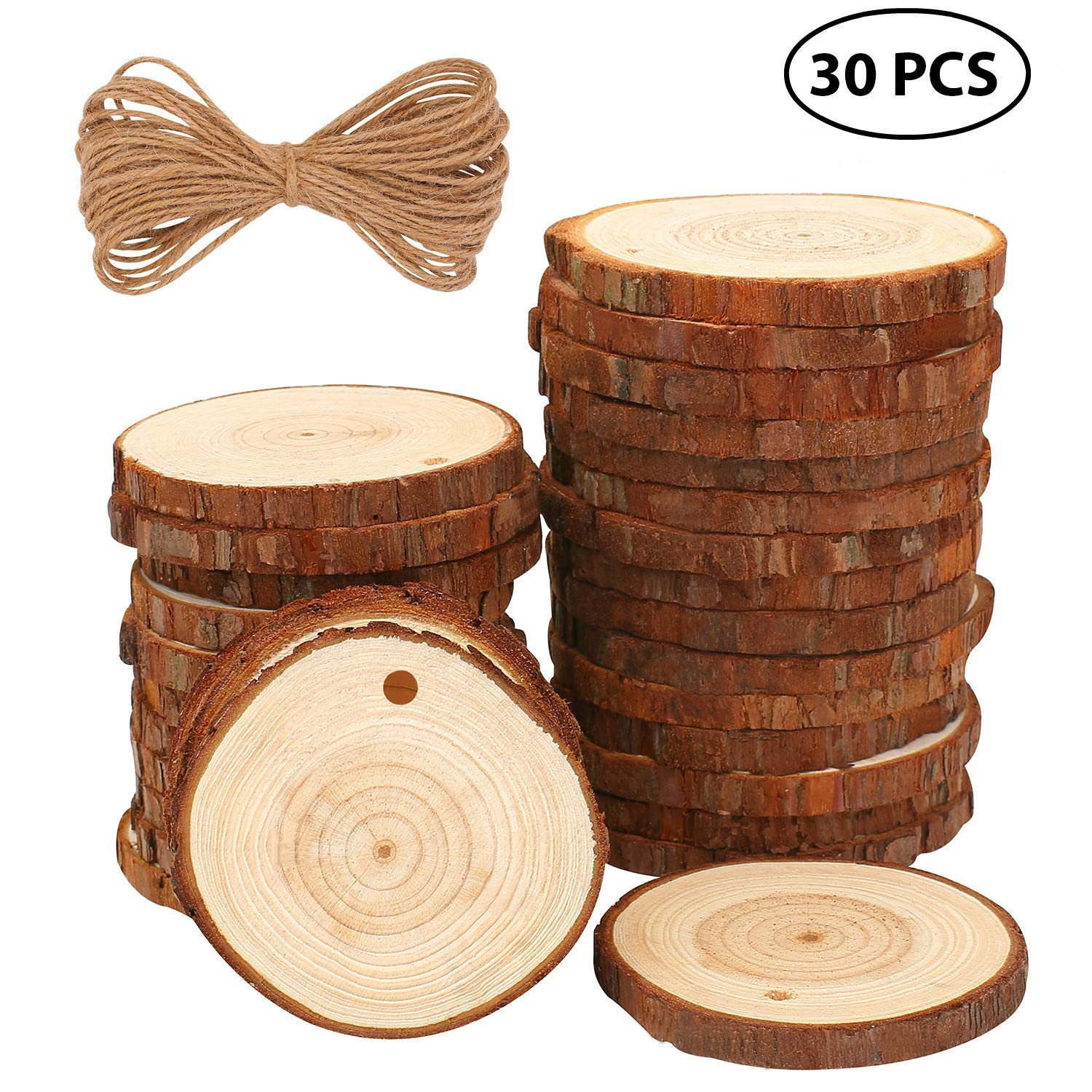 Natural Wood Slices 30 Pcs 2.4''-2.8'' Craft Wood kit Unfinished Predrilled with Hole Wooden Circles Great for Arts and Crafts Christmas Ornaments DIY Crafts
