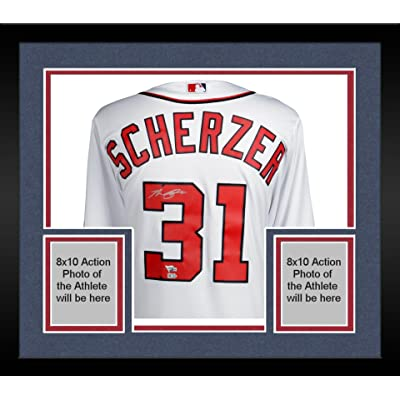 low priced 1e15f 91ec4 Framed Max Scherzer Washington Nationals Autographed White ...