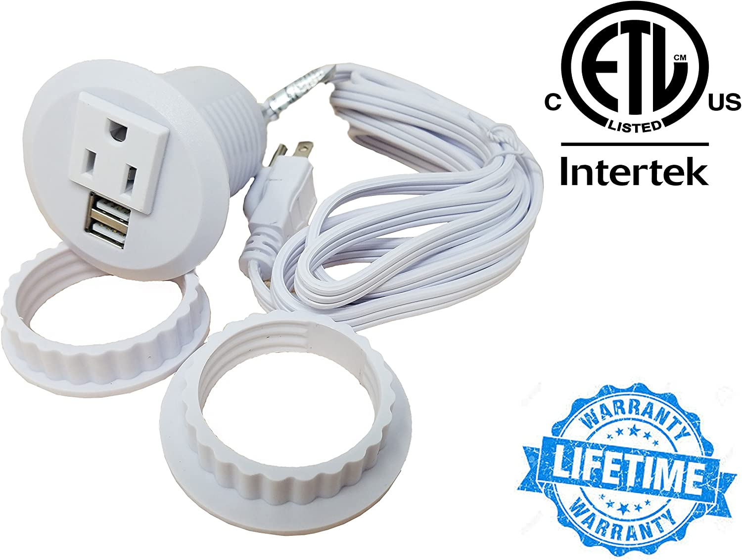 "Desktop Power Grommet Outlet Data Center, 2"" or 3"" Hole No Drilling Required, 1 Outlet W/ 2 USB Ports (White- 2"" (No Drilling Required- 6ft Power Cord))"