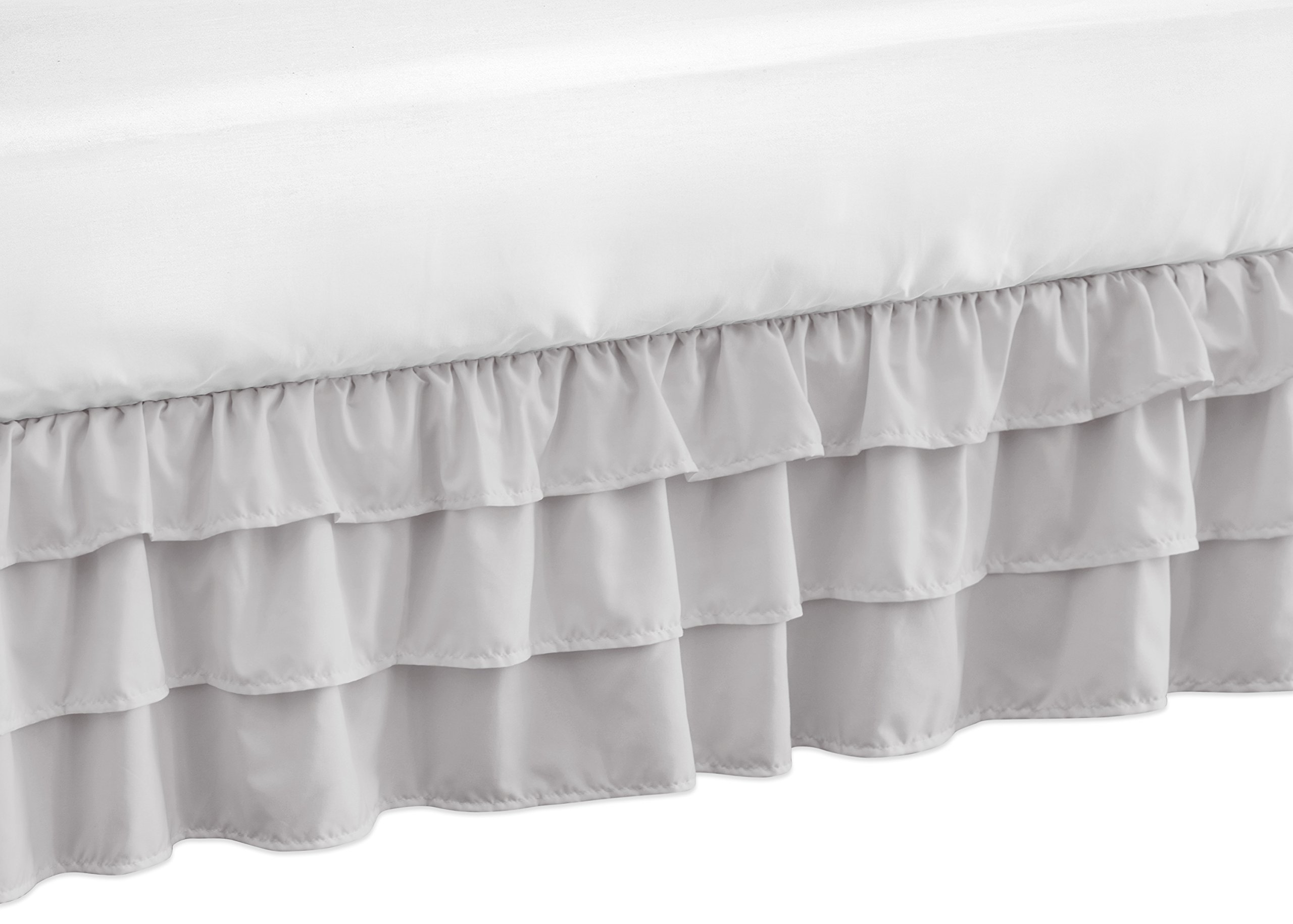 Solid Color Grey Shabby Chic Girl Ruffled Tiered Crib Bed Skirt Dust Ruffle for Harper Collection by Sweet Jojo Designs