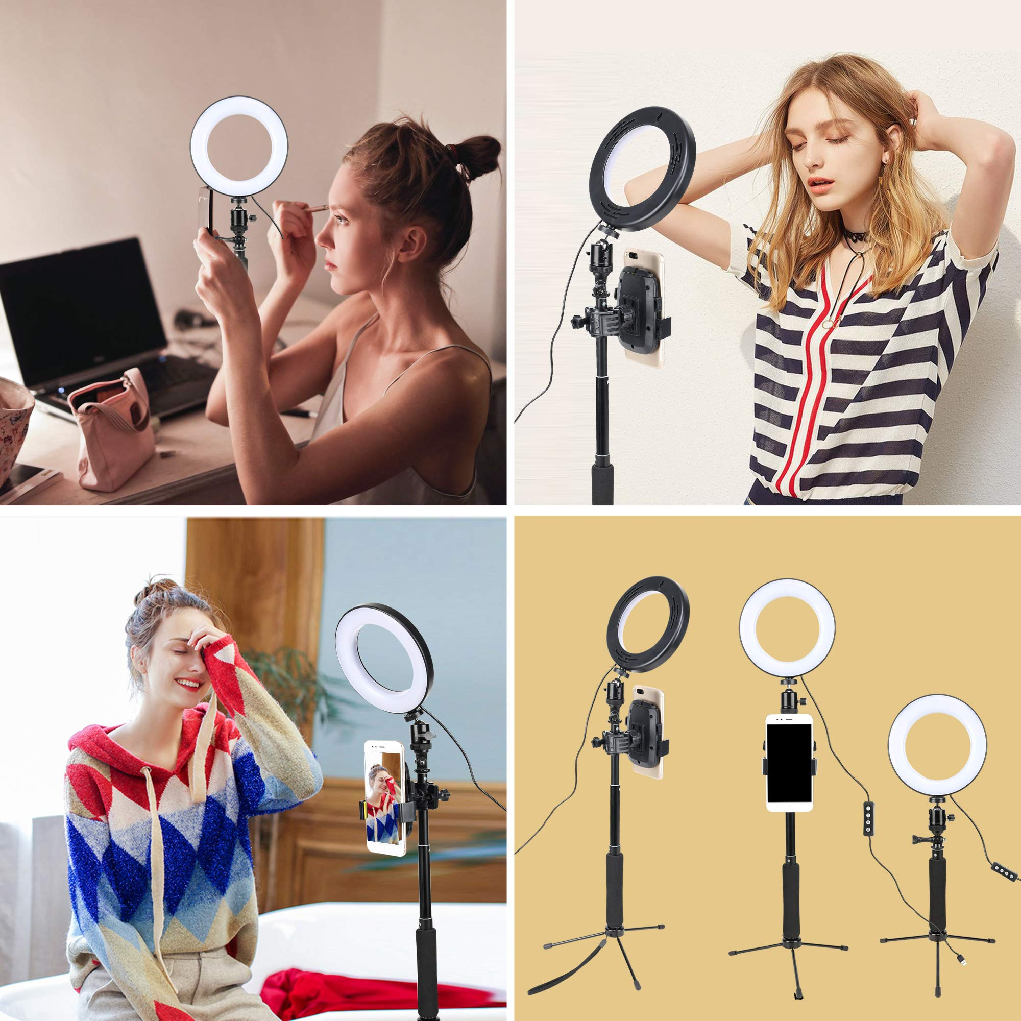 ZOMEI Dimmable LED Ring Light with Adjustable Selfie Stick Stand and Phone Holder for Selfie Makeup Filming Light