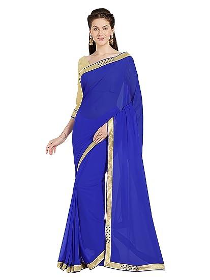 a5a628c139 Amazon.com: Sourbh Mirchi Fashion Women's Blue Faux Georgette Saree with  Fancy Border (5015_Blue): Clothing