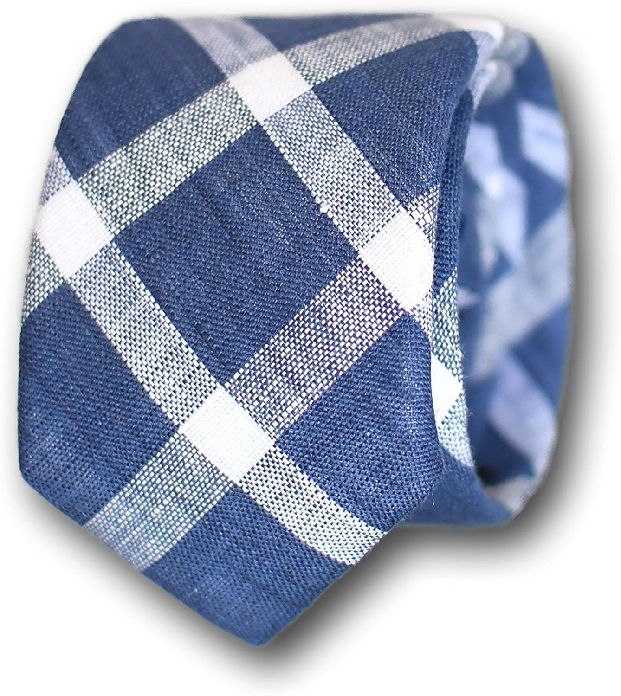 Oxford Collection Corbata de hombre Azul a Cuadros - 100% Lino ...