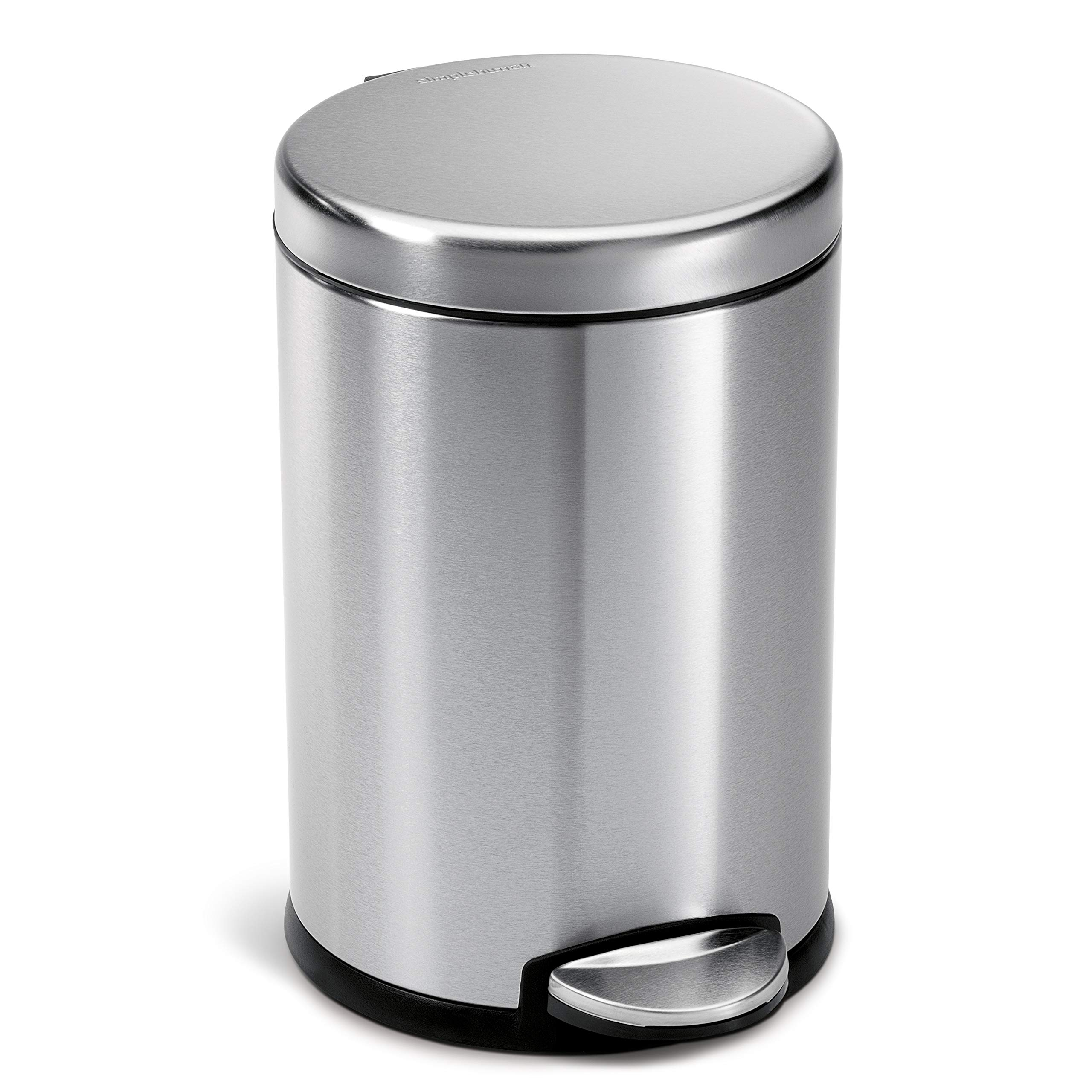 simplehuman 4.5 Liter / 1.2 Gallon Compact Round Bathroom, Brushed Stainless Steel trash can by simplehuman