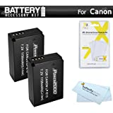 2 Pack Battery Kit For Canon EOS SL1 DSLR , EOS M, EOS M Mirrorless Digital Camera Includes 2 Extended Replacement (1150Mah) For Canon LP E12 Batteries + LCD Screen Protectors + MicroFiber Cleaning Cloth