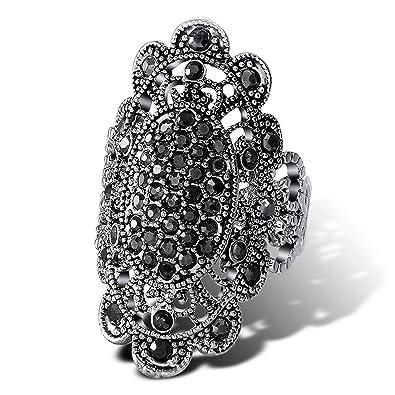 Amazon.com  Gemmart 7-9 Big Retro Black Crystal engagement rings for ... d5f1991bd8