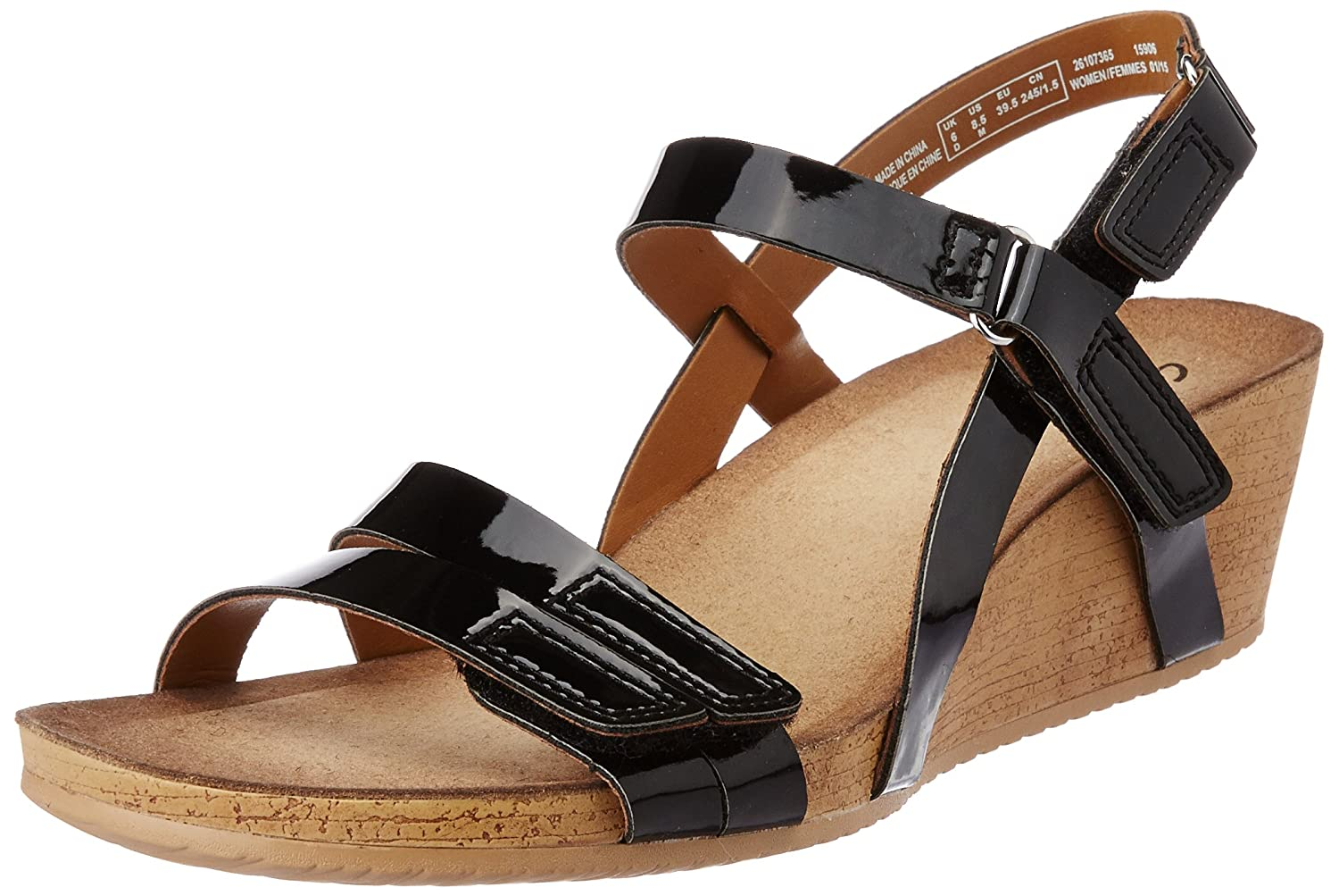 7a085ba76f7 Clarks Womens Alto Gull Black Patent Leather Casual Sandals