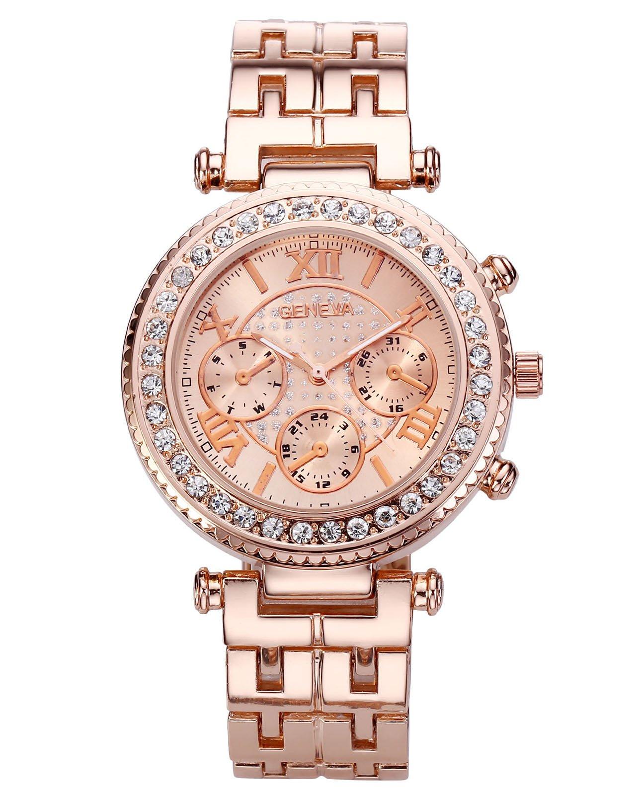 JSDDE Uhren,Klassische Genf Damen Uhren Strass Armbanduhr Traveler unecht Chronograph Damenuhr Blogger Business Quarzuhr (Rosegold)