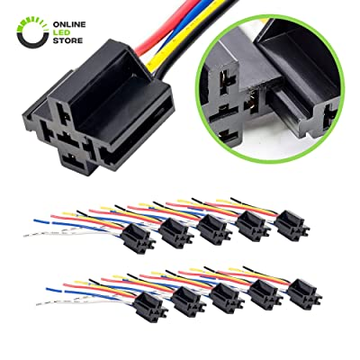 ONLINE LED STORE 10 Pack - Bosch Style 12V DC 5-PIN SPDT Interlocking Relay Socket Harness Base (with Wires): Automotive