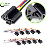 ONLINE LED STORE 10 Pack - Bosch Style 12V DC 5-PIN SPDT Interlocking Relay Socket Harness Base (with Wires)