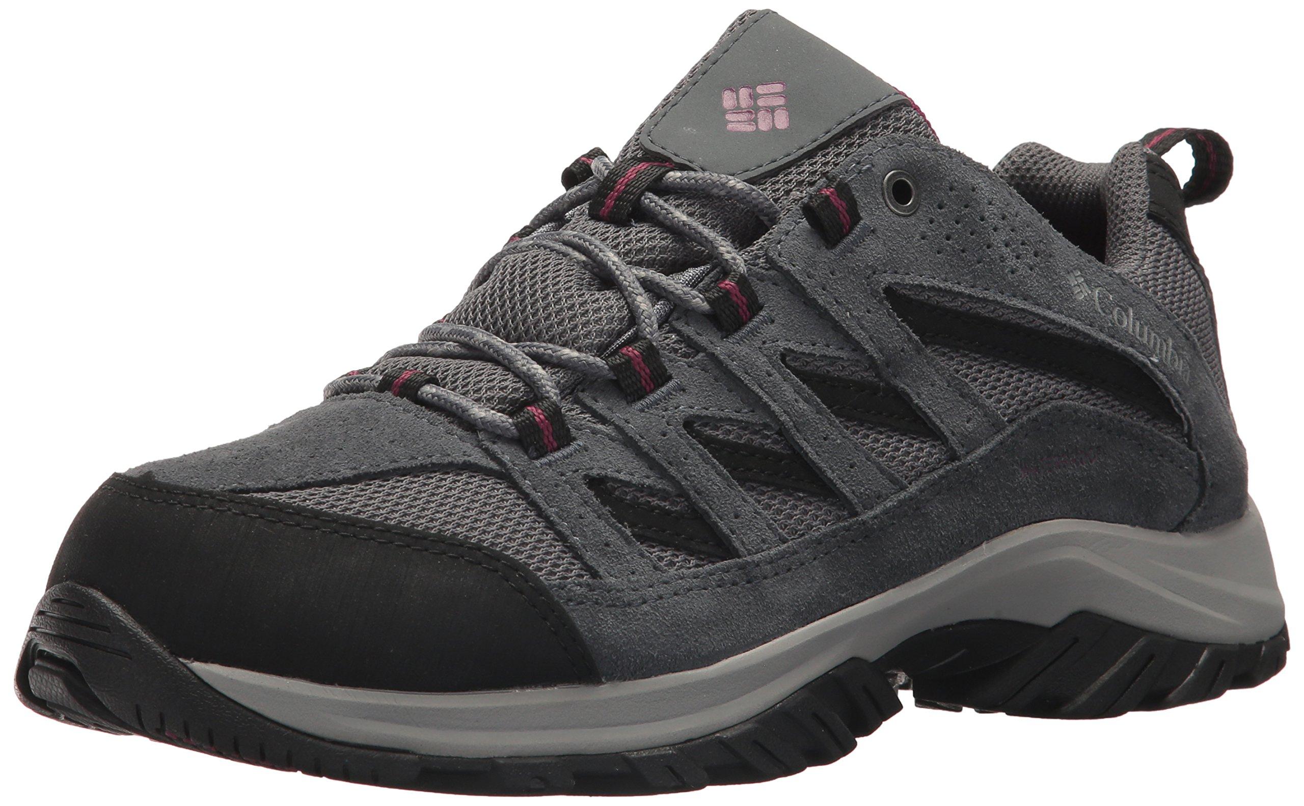 Columbia Women's Men's Crestwood Waterproof Hiking Boot, Ti Grey Steel, Dark Raspberry, 10.5 Regular US