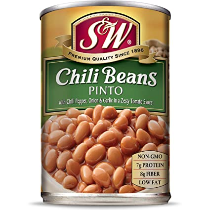 S W Canned Chili Beans 12 Pack Vegetarian Non Gmo Natural Gluten Free Pinto Bean Sourced And Packaged In The Usa 15 Ounce Can Grocery Gourmet Food