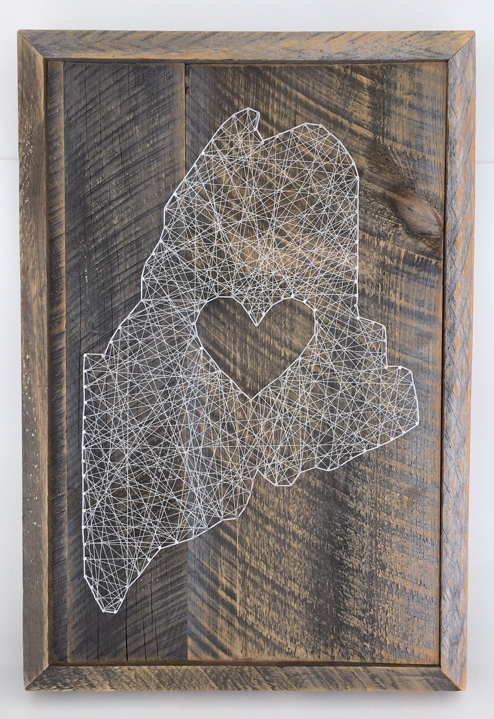 Large reclaimed wooden framed Maine love string art. A unique gift for Weddings, Anniversaries, Birthdays,Christmas House warming, and just because.