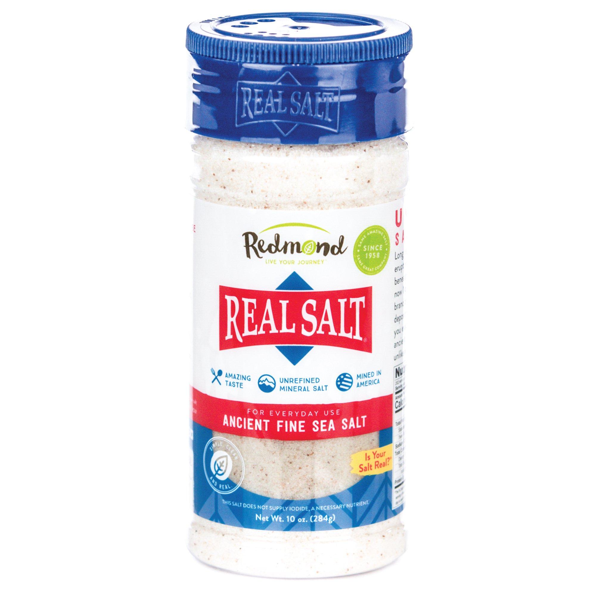 Redmond Real Sea Salt - Natural Unrefined Organic Gluten Free Fine, 10 Ounce Shaker (1 Pack)