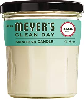 product image for Mrs. Meyer's Clean Day Scented Soy Aromatherapy Candle, 35 Hour Burn Time, Made with Soy Wax, Basil, 4.9 oz