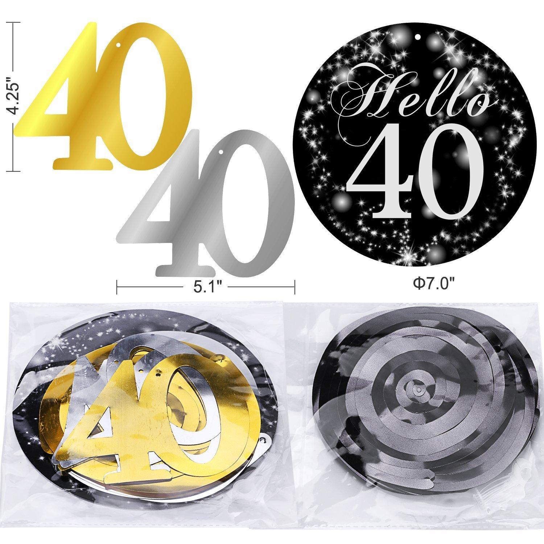 Konsait 40 cumpleaños Negro Colgar Remolino decoración de Techo (15 Cuentas), Feliz cumpleaños & 40 Mesa Confeti (1.05 oz) para Decoraciones de 40 ...