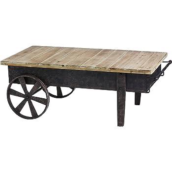 Superieur Cape Craftsmen Vintage Wood Plank Metal Cart Coffee Table