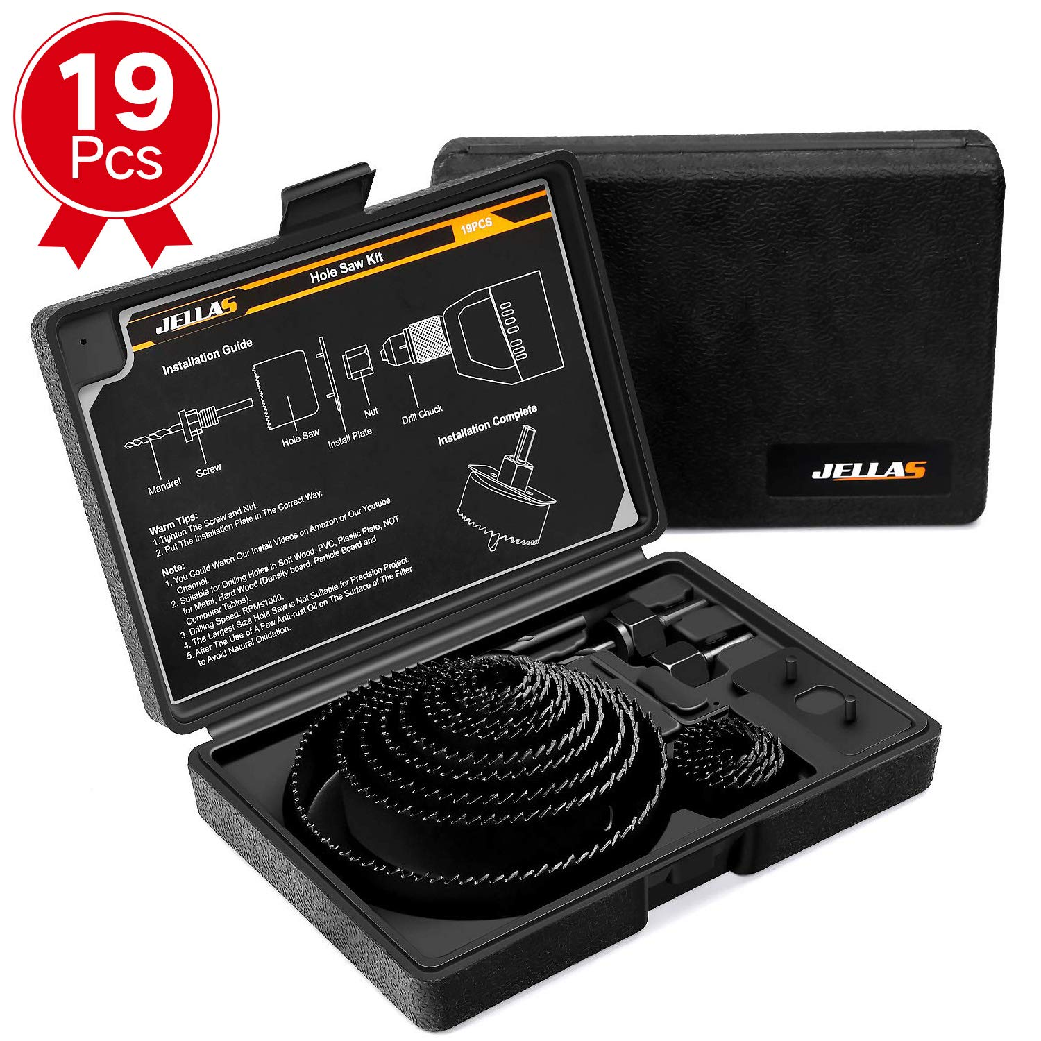 Hole Saw Kit, JELLAS 19Pcs 3/4''-5'' Holesaw set(Include 1'' and 1 3/8'') in Hard Box, 2 Mandrels, 1 Installation Plate, 1 Hex Key, Durable and Cut Precise Holes for Soft Wood, PVC Board and Plastic by Jellas