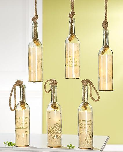 1 x Cristal de 5 LED Botella Post Corazón/suerte Sisal nodos Altura 30 cm