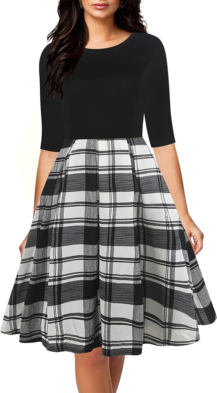 oxiuly Womens Long Sleeve Round Neck Casual Pockets Cocktail Party Dress OX253