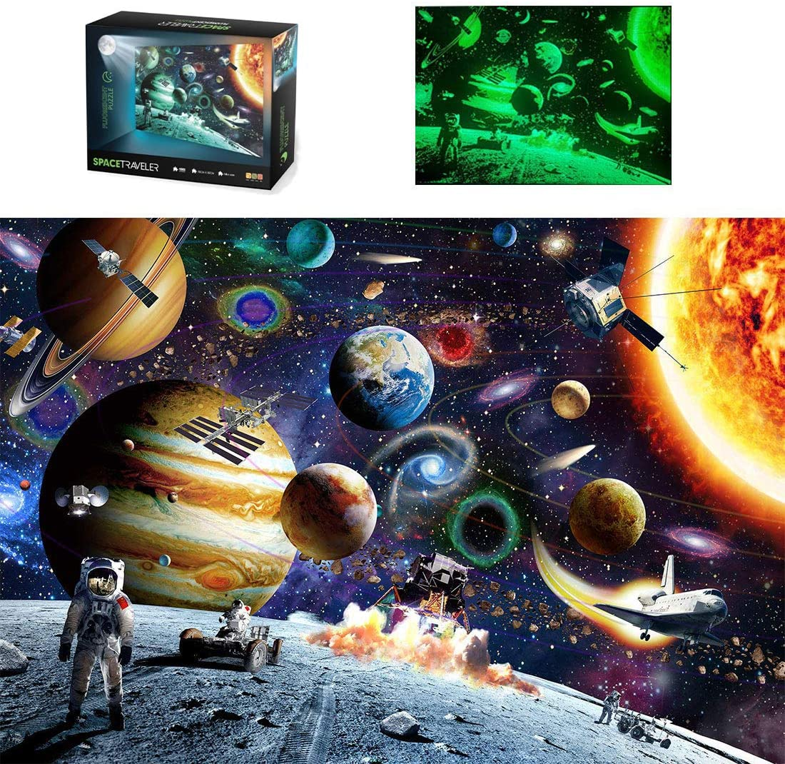 Luminous Edition Adult Space Puzzle WIAFOCD Jigsaw Puzzle for Adults 1000 Pieces Space Traveler Adult Games Family Puzzle Children Puzzle